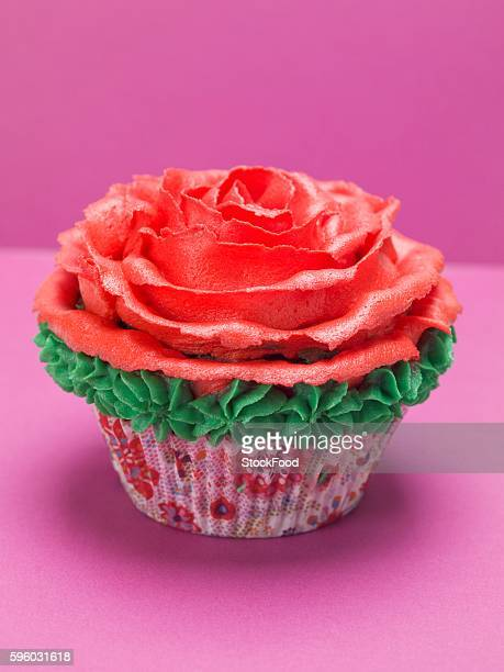 Cupcake with red marzipan rose