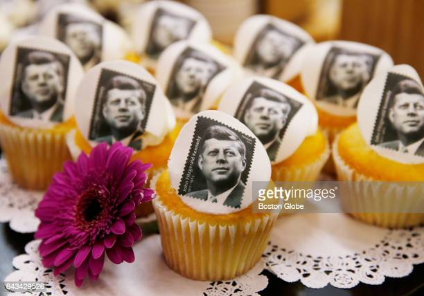 Cupcakes bearing the image of a Forever stamp in commemoration of the centennial of President John F Kennedy's birth are seen at the JFK Library in...
