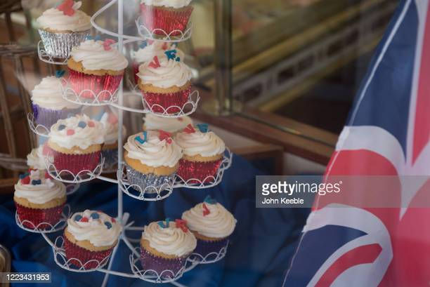 Cupcakes decorated to celebrate VE day are displayed for sale at a local bakers on May 07 2020 in Leigh on Sea England The UK will commemorate the...