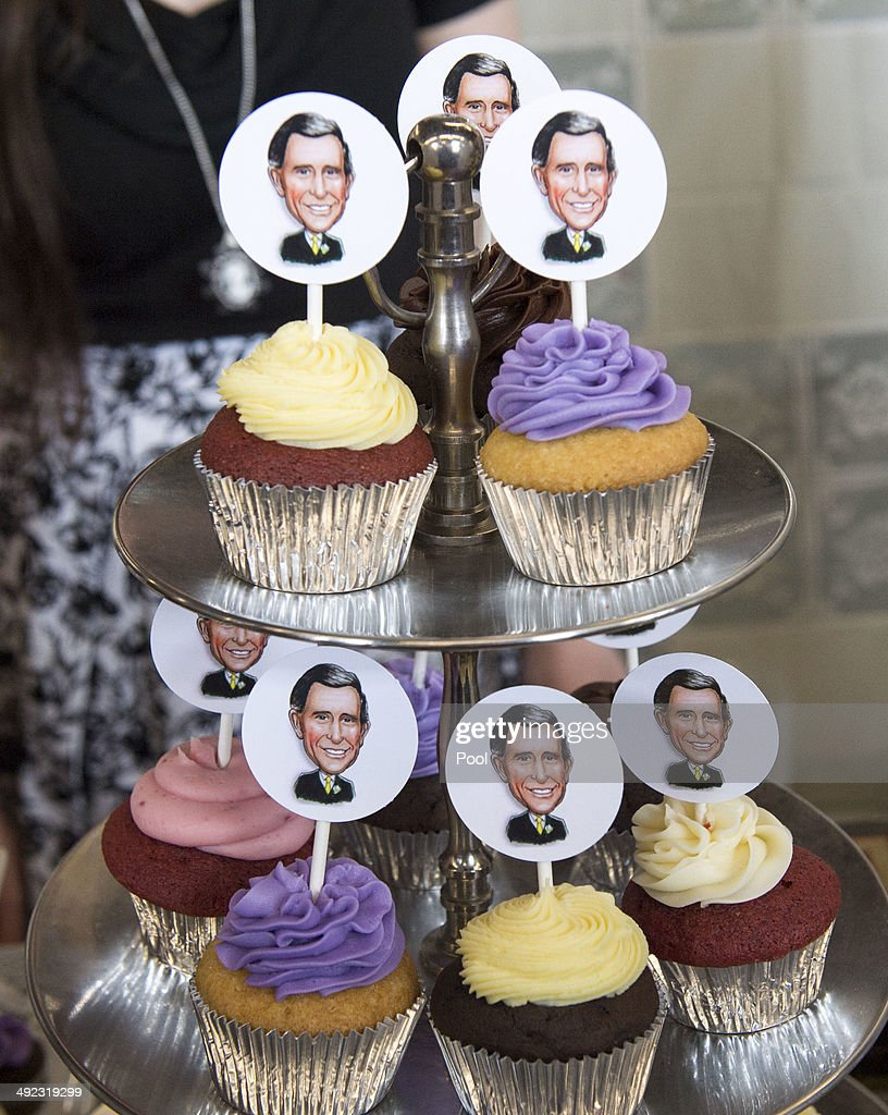Cupcakes featuring caricatured faces of Prince Charles, Prince of Wales are seen as he visits Seaport Farmer's Market on May 19, 2014 in Halifax, Canada. The Prince of Wales and Duchess of Cornwall are on a four day visit to Canada.