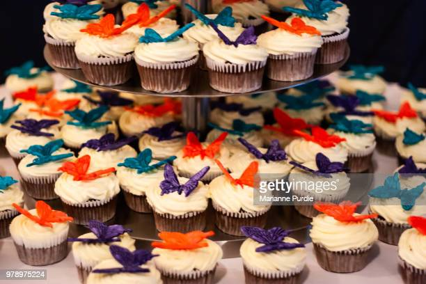 cupcakes on a stand - marzipan stock pictures, royalty-free photos & images