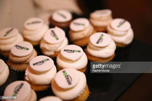 Cupcakes topped with the Amazon logo are displayed at Amazon's Golden Globe Awards Celebration at The Beverly Hilton Hotel on January 10 2016 in...