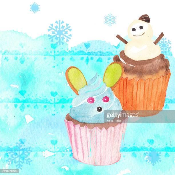 cupcakes watercolor illustration - kawaii foto e immagini stock