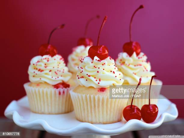 Cupcakes with cherries on plate