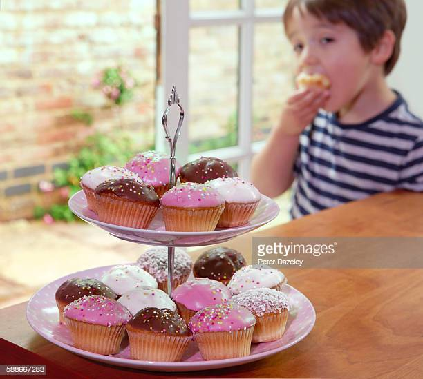 Cupcakes with four year old boy