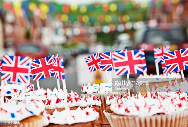 Cupcakes with Union Jack Flags