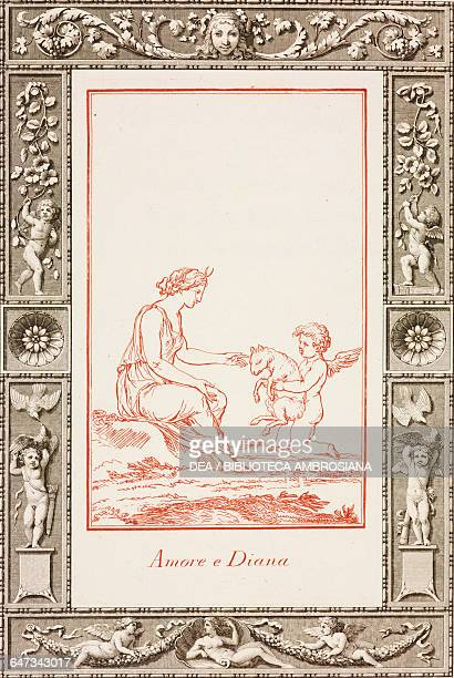 Cupid and Diana engraving by Jose Teixeira Barreto in Poetic and Pictorial Jokes by Giovanni Gherardo de Rossi 1795