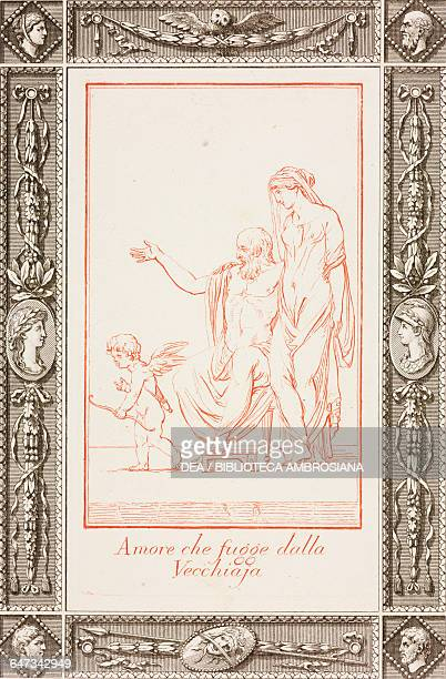 Cupid fleeing from the aged engraving by Jose Teixeira Barreto in Poetic and Pictorial Jokes by Giovanni Gherardo de Rossi 1795