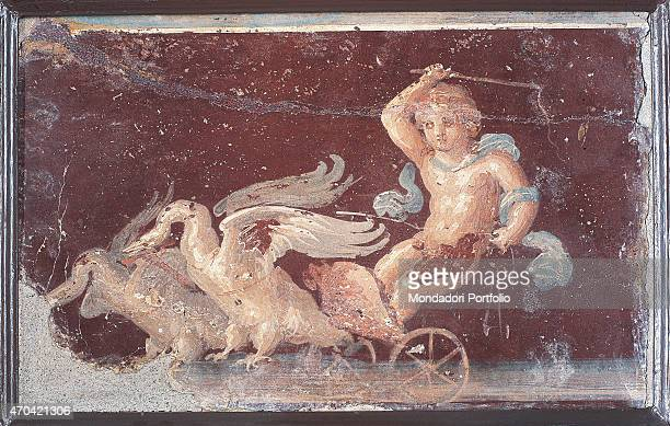 """""""Cupid on Chariot, by unknown artist, 62-79, 1st Century A.D., ripped fresco, 26 x 42 cm Italy, Campania, Naples, National Archaeological Museum,..."""