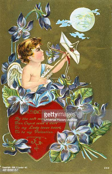 Cupid shooting an arrow carrying a love letter 1908 American Valentine card He stands by a red heart inscribed with a message and surrounded by Sweet...