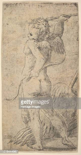 Cupid viewed from behind with an arrow in his raised right hand, circa 1543-45. Artist Andrea Schiavone.
