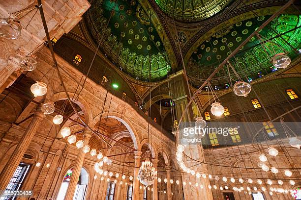 Cupola And Lamps In The Interior Of The Prayer Hall Of Mohammed Ali Mosque In The Citadel Of Cairo Al Qahirah Egypt