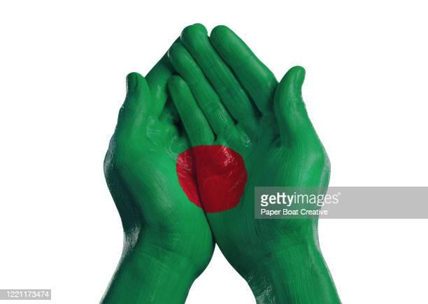 cupped hands on white background with flag of bangladesh - bangladesh fotografías e imágenes de stock