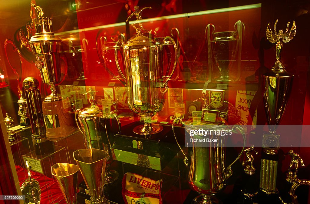 Cups And Prizes In The Trophy Room At Anfield Sacred Home To Liverpool Football