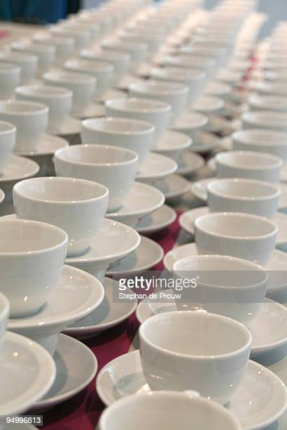 cups and saucers - stephan de prouw stock pictures, royalty-free photos & images