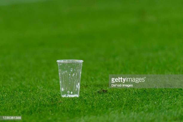 Cups are seen during the Bundesliga match between 1. FC Koeln and RB Leipzig at RheinEnergieStadion on September 18, 2021 in Cologne, Germany.