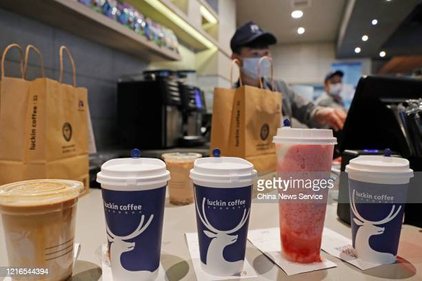 Cups of drinks are seen at a Luckin Coffee store on April 3 2020 in Shanghai China