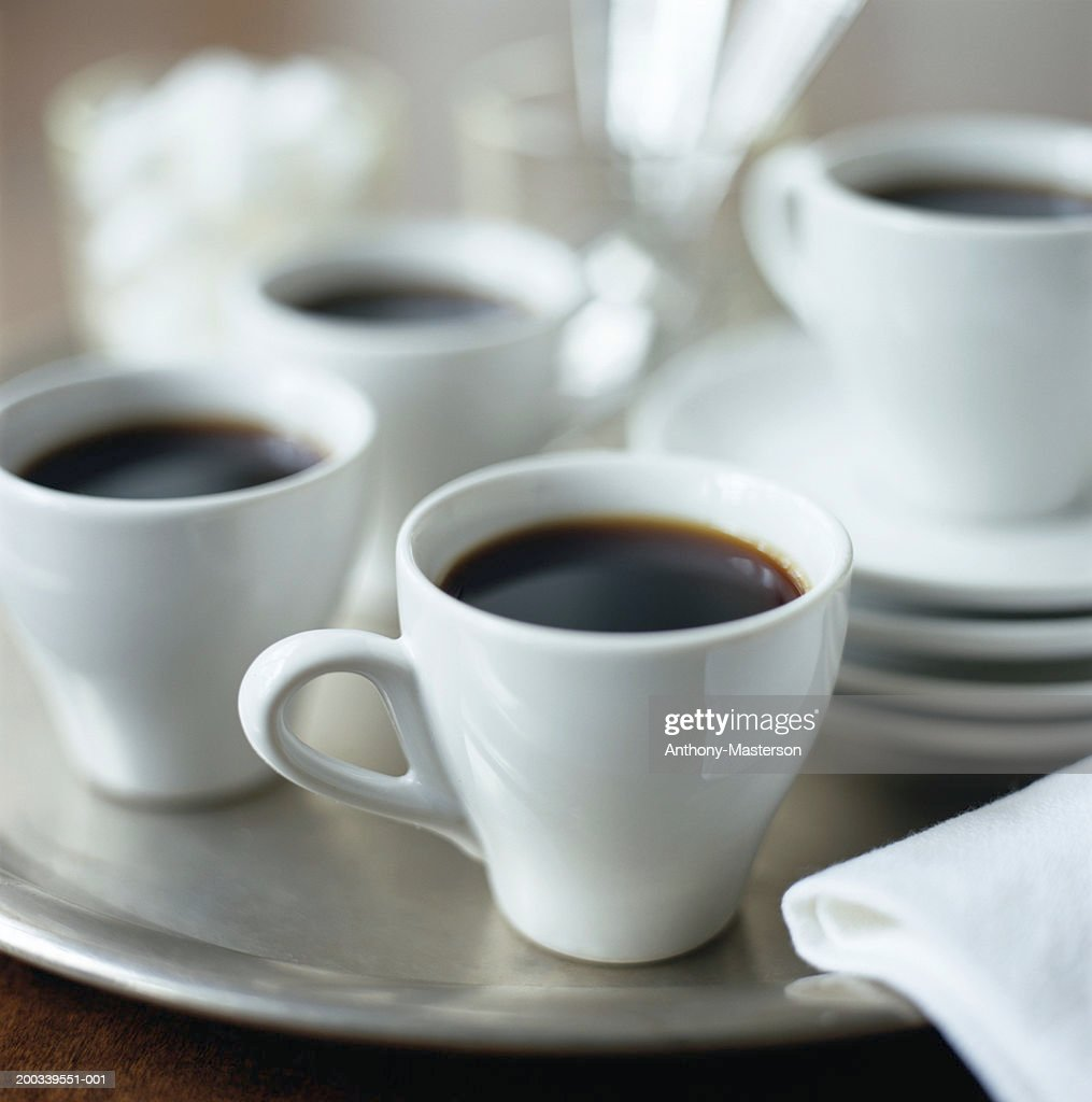 Cups of Espresso on silver tray : Stock Photo