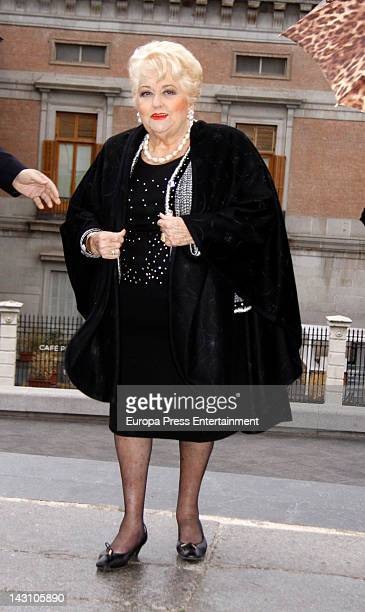Cuqui Fierro attends funeral for the drawer Antonio 'Mingote' at Los Jeronimos Church on April 18 2012 in Madrid Spain
