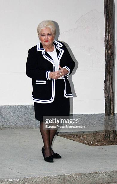 Cuqui Fierro attends the funeral chapel for Antonio Mingote the spanish cartoonist died at the Gregorio Maranon Hospital aged 93 years old on April 3...