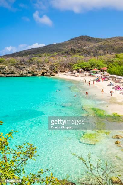 curacao, kenepa grandi beach - curaçao stockfoto's en -beelden