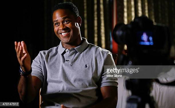 Curacao national football team coach Patrick Kluivert is interviewed at Hotel Za Za to promote the 2015 UEFA Champions League Trophy Tour presented...