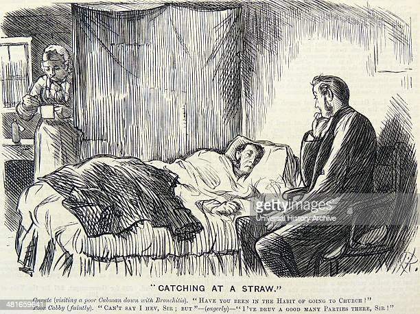 Curate paying a home visit to a London cabman suffering from bronchitis Cabmen were exposed to fogs 'London Particulars' and were in the open in all...