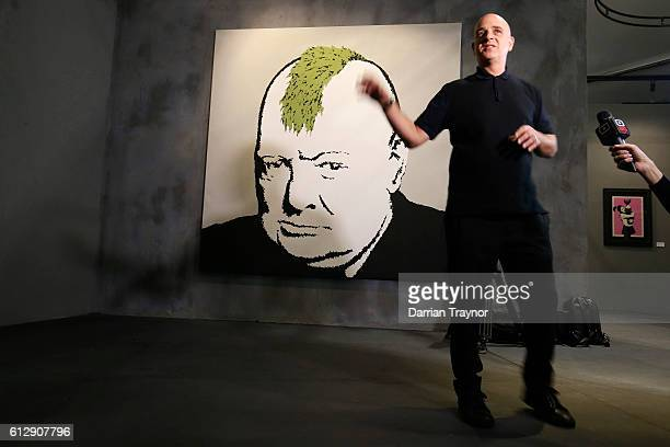 Curator and former manager of Banksy Steve Lazarides speaks during a media preview of The Art of Banksy Exhibition at Federation Square on October 6,...