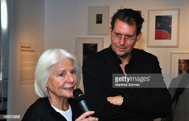 Curator Brigitte Woischnik and curator Ingo Taubhorn deliver a speech during the press converence of the exhibition 'Paul Seiter' at Kunst Haus Wien...