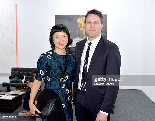 LACMA curator Christine Y Kim and founder of Art Los Angeles Tim Fleming attend the Art Los Angeles Contemporary 2016 Opening Night at Barker Hangar...