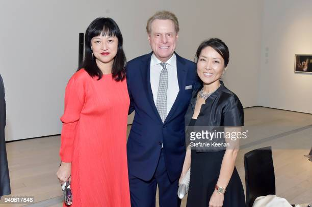 LACMA Curator Christine Y Kim Robert Blumenfield and Sharon Blumenfield attend LACMA 2018 Collectors Committee Gala at LACMA on April 21 2018 in Los...
