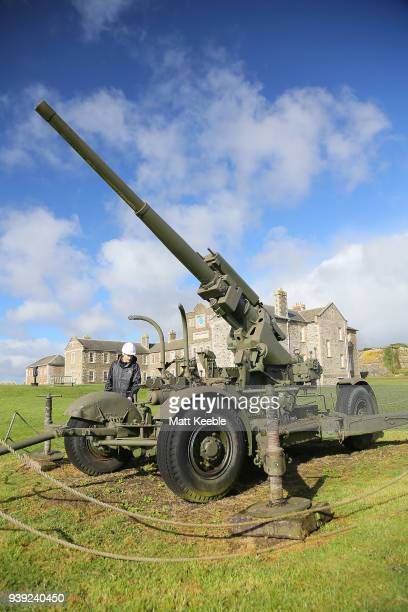 Curator Ian Leins inspects a Second World War antiaircraft gun in need of conservation at Pendennis Castle on March 28 2018 in Falmouth England in...