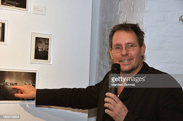 Curator Ingo Taubhorn delivers a speech during the press converence of the exhibition 'Paul Seiter' at Kunst Haus Wien on January 30 2013 in Vienna...