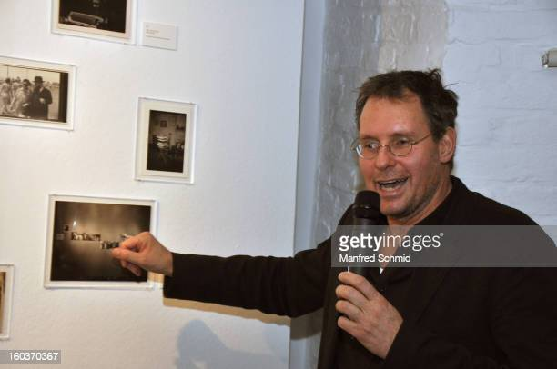 Curator Ingo Taubhorn gives a speech during the press converence of the exhibition 'Paul Seiter' at Kunst Haus Wien on January 30 2013 in Vienna...