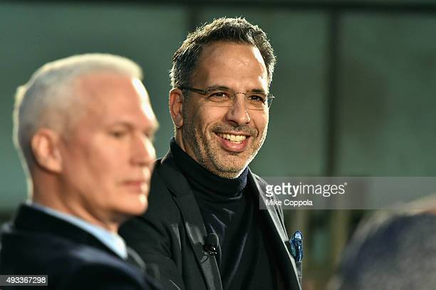 Curator Klaus Biesenbach and Chef Yotam Ottolenghi speak onstage at The New York Times TasteMasters presented by Park Hyatt on October 19 2015 in New...