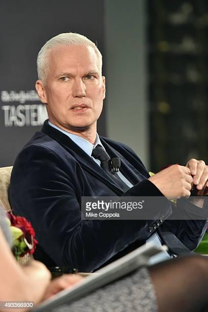 Curator Klaus Biesenbach speaks onstage at The New York Times TasteMasters presented by Park Hyatt on October 19 2015 in New York City