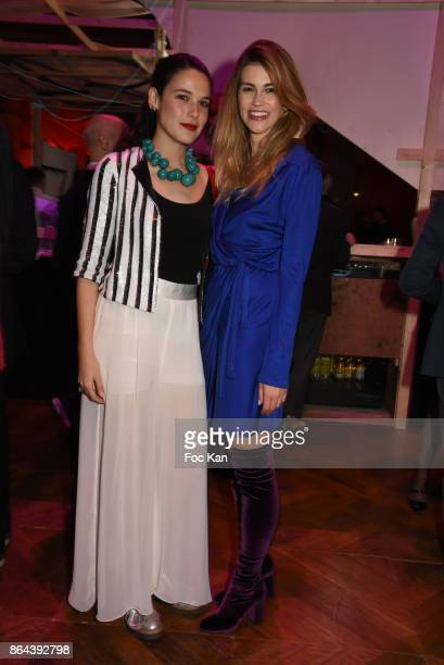 Curator Laura Salas Redondo and Lorena Vergani attend the 'Bal Jaune Elastique 2017' Dinner Party at Palais Brongniart on October 20 2017 in Paris...