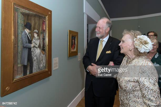Curator Magnus Olausson and Countess Marianne Bernadotte de Wisborg attend the Swedish Painter Anders Zorn Exhibition at Le Petit Palais on September...