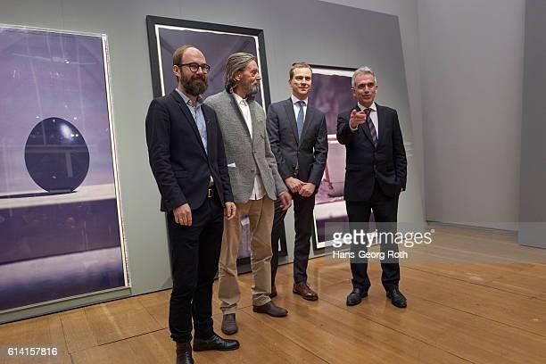 Curator Matthias Ulrich artist Ulay Director of Schirn Museum Phillip Demandt and Mayor of Frankfurt am Main Peter Feldmann are seen during a press...