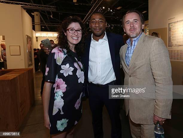 Curator Miranda Lash Franklin Sirmans Director of Perez Art Museum Miami and Ghislain d'Humieres Director of Speed Art Museum pose during the VIP...