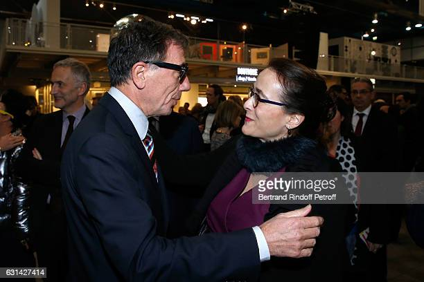 Curator of Centre Pompidou Serge Lasvignes and President of France Television Delphine Ernotte attend the celebration of the 40th Anniversary of the...