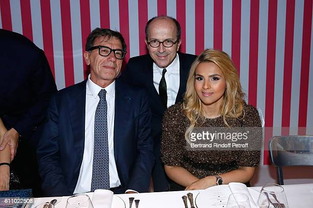 Curator of Centre Pompidou Serge Lasvignes President of Delvaux and CEO Sonia Rykiel JeanMarc Loubier and Sheikha Aisha Al Thani attend the cocktail...