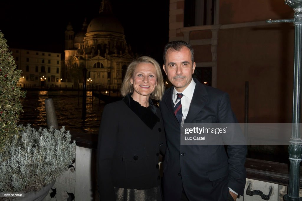 Curator of the exhibition Elena Geuna and director of Palazzo Grassi and Punta della Dogana Martin Bethenod attend the opening of Damien Hirst 'Treasures From The Wreck Of The Unbelievable' new exhibition on April 8, 2017 in Venice, Italy.
