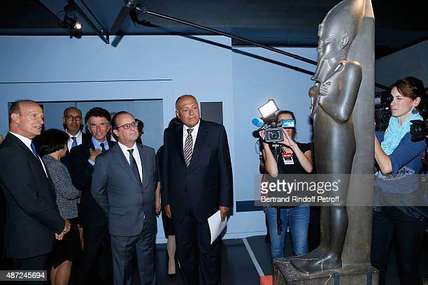 Curator of the exhibition Franck Goddio, President of the 'Institut du Monde Arabe' Jack Lang, President of the French Republic Francois Hollande and...