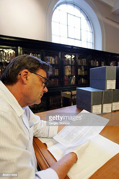 Curator of the State Library of NSW, Stephen Martin views a carbon copy of the original Schindler's List following its discovery by The State...