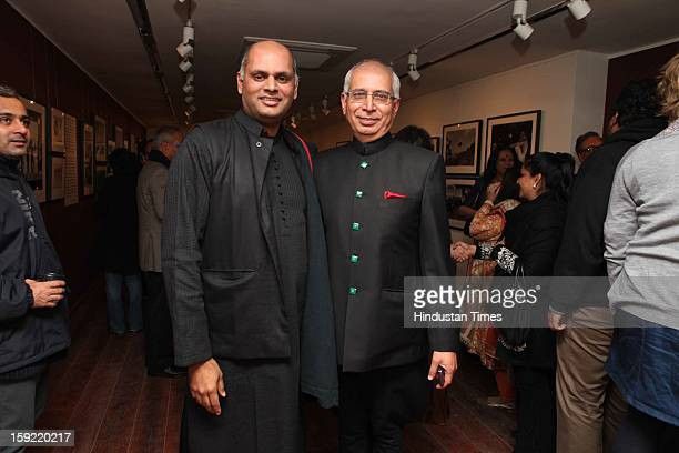 Curator Pramod Kumar KG and Kishore Singh during the Photo exhibition titled Nemai Ghosh Satyajit Ray and Beyond at Delhi Art Gallery Hauz Khas...