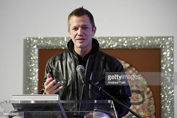 Curator ThierryMaxime Loriot speaks during the press preview for The Fashion World of Jean Paul Gaultier From the Sidewalk to the Catwalk at the...
