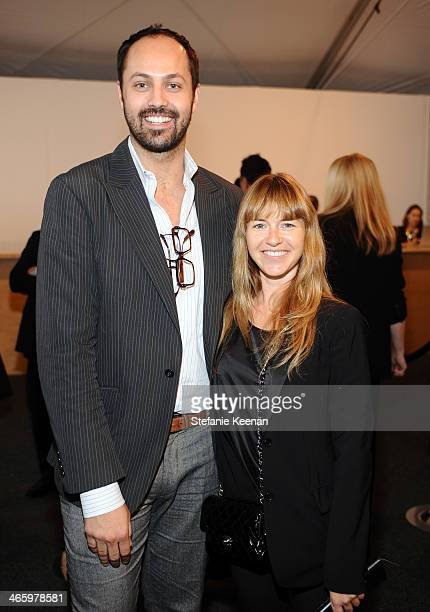 Curator/art dealer Justin Gilanyi and artist Heather Harmon attend the Art Los Angeles Contemporary 2014 opening night at Barker Hangar on January...