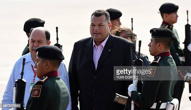 Curazao's Prime Minister Ivar Asjes is welcomed by Mexican ambassador Juan Carlos Cue upon his arrival at the international airport of Merida Yucatan...