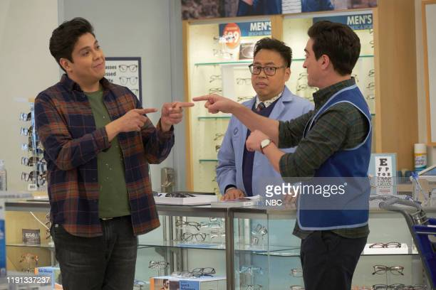 SUPERSTORE Curbside Pickup Episode 509 Pictured George Salazar as Eric Nico Santos as Mateo Ben Feldman as Jonah